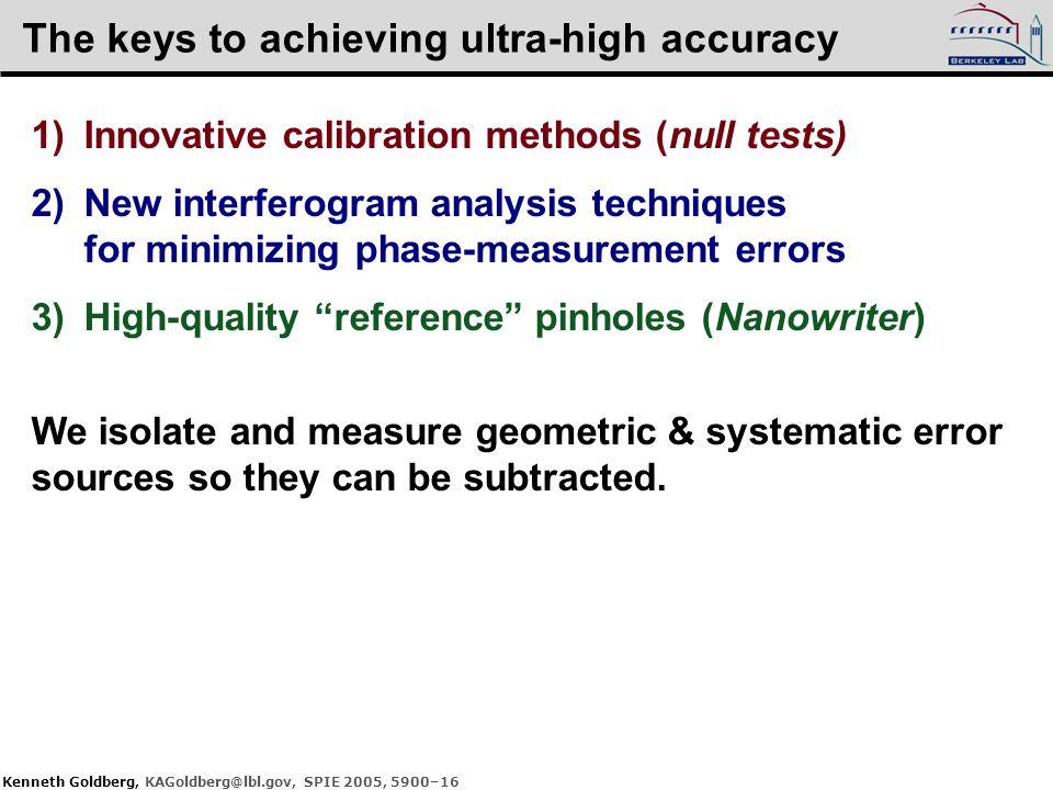 Kenneth Goldberg, KAGoldberg@lbl.gov, SPIE 2005, 5900–16 The keys to achieving ultra-high accuracy 1)Innovative calibration methods (null tests) 2)New