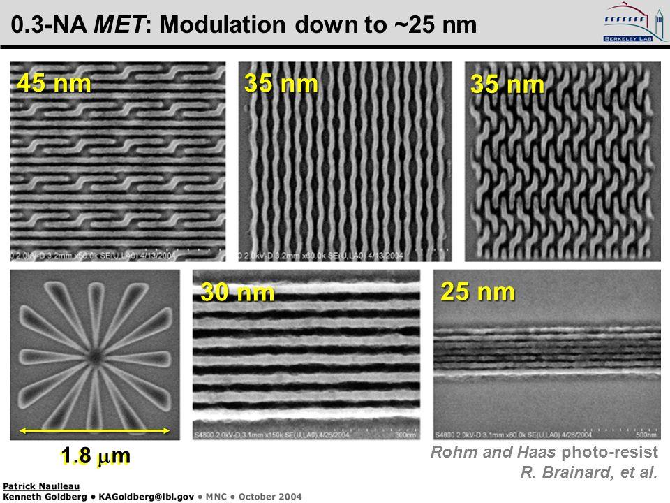 Kenneth Goldberg, KAGoldberg@lbl.gov, SPIE 2005, 5900–16 1.8  m 45 nm 30 nm 35 nm 25 nm 1.8  m 0.3-NA MET: Modulation down to ~25 nm Rohm and Haas photo-resist R.