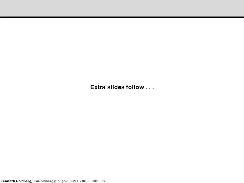Kenneth Goldberg, KAGoldberg@lbl.gov, SPIE 2005, 5900–16 Extra slides follow...