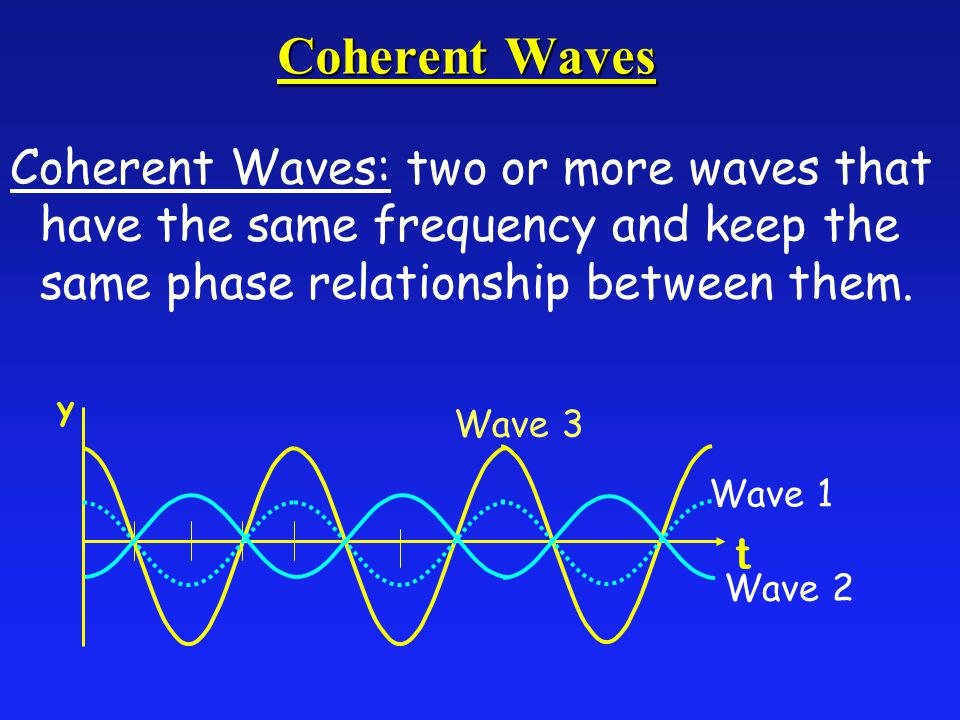 Coherent Waves Coherent Waves: two or more waves that have the same frequency and keep the same phase relationship between them.