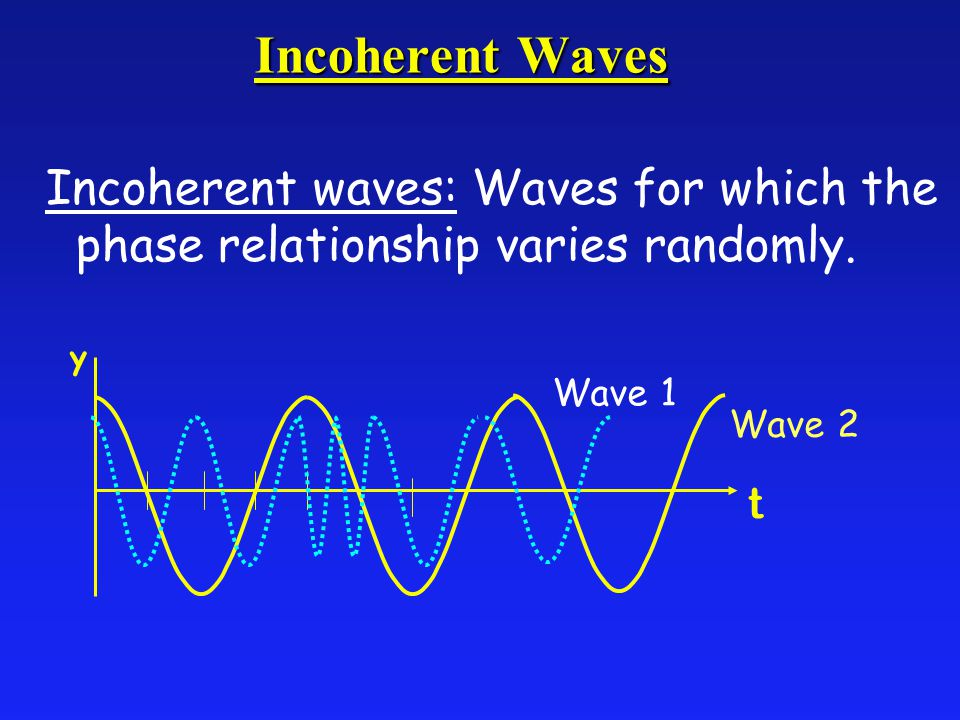 Incoherent Waves Incoherent waves: Waves for which the phase relationship varies randomly.
