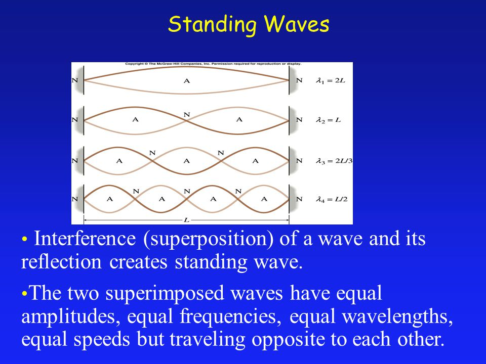 Standing Waves Interference (superposition) of a wave and its reflection creates standing wave.