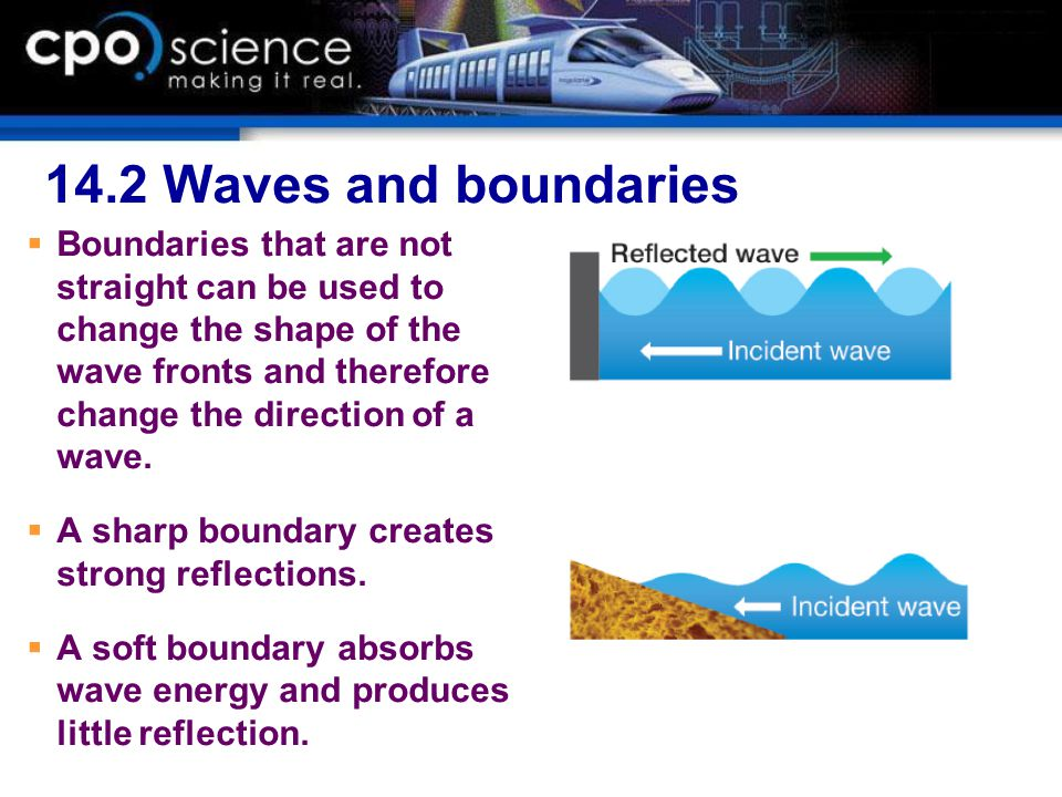 14.2 Waves and boundaries  Boundaries that are not straight can be used to change the shape of the wave fronts and therefore change the direction of