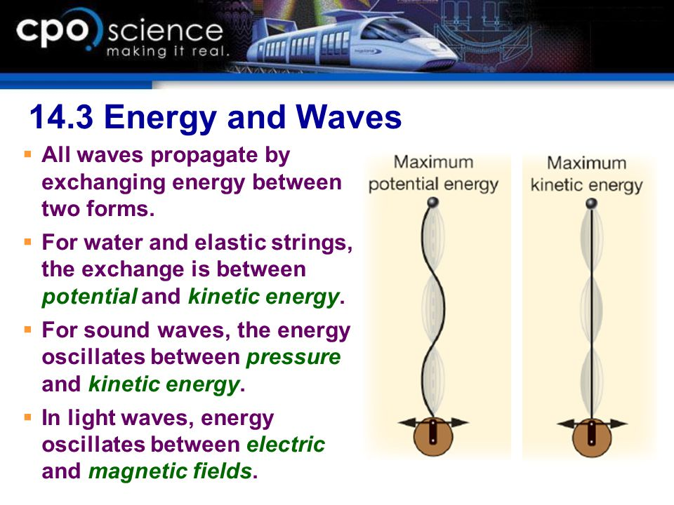 14.3 Energy and Waves  All waves propagate by exchanging energy between two forms.  For water and elastic strings, the exchange is between potential