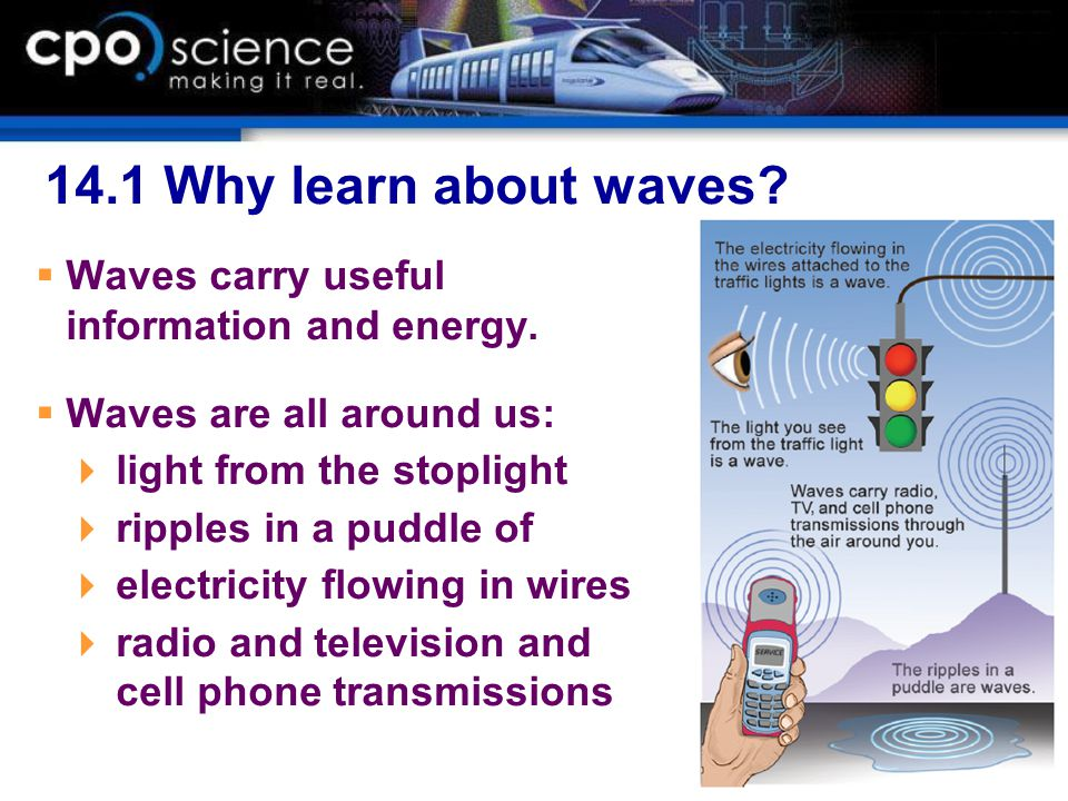 14.1 Why learn about waves?  Waves carry useful information and energy.  Waves are all around us:  light from the stoplight  ripples in a puddle o
