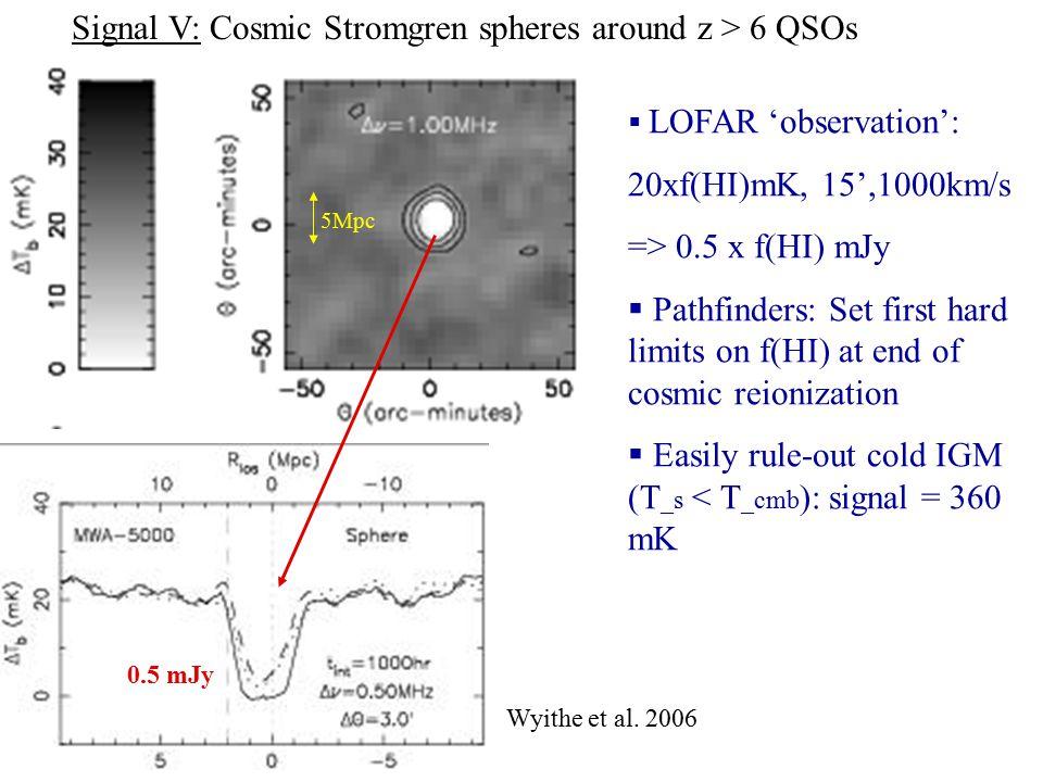 Signal V: Cosmic Stromgren spheres around z > 6 QSOs 0.5 mJy  LOFAR 'observation': 20xf(HI)mK, 15',1000km/s => 0.5 x f(HI) mJy  Pathfinders: Set first hard limits on f(HI) at end of cosmic reionization  Easily rule-out cold IGM (T _s < T _cmb ): signal = 360 mK Wyithe et al.
