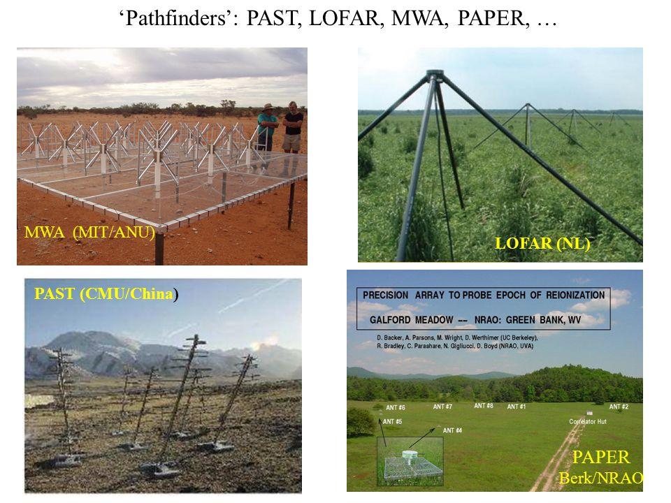 'Pathfinders': PAST, LOFAR, MWA, PAPER, … MWA (MIT/ANU) LOFAR (NL) PAST (CMU/China) PAPER Berk/NRAO