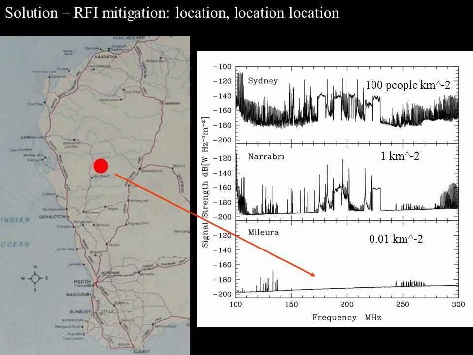 Solution – RFI mitigation: location, location location… 100 people km^-2 1 km^-2 0.01 km^-2