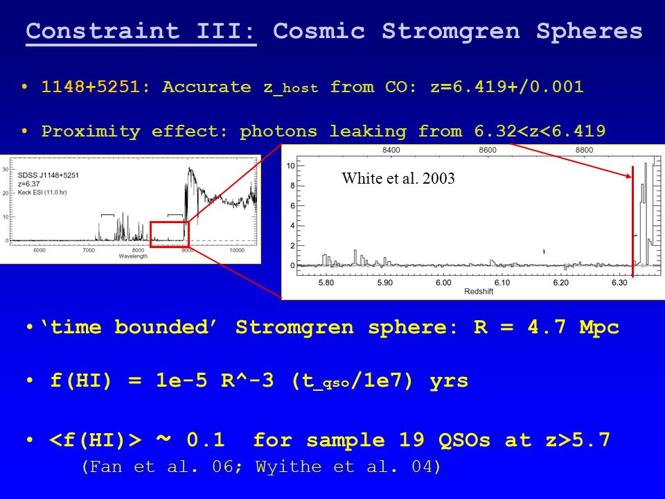 Constraint III: Cosmic Stromgren Spheres 1148+5251: Accurate z _host from CO: z=6.419+/0.001 Proximity effect: photons leaking from 6.32<z<6.419 'time bounded' Stromgren sphere: R = 4.7 Mpc f(HI) = 1e-5 R^-3 (t _qso /1e7) yrs ~ 0.1 for sample 19 QSOs at z>5.7 (Fan et al.
