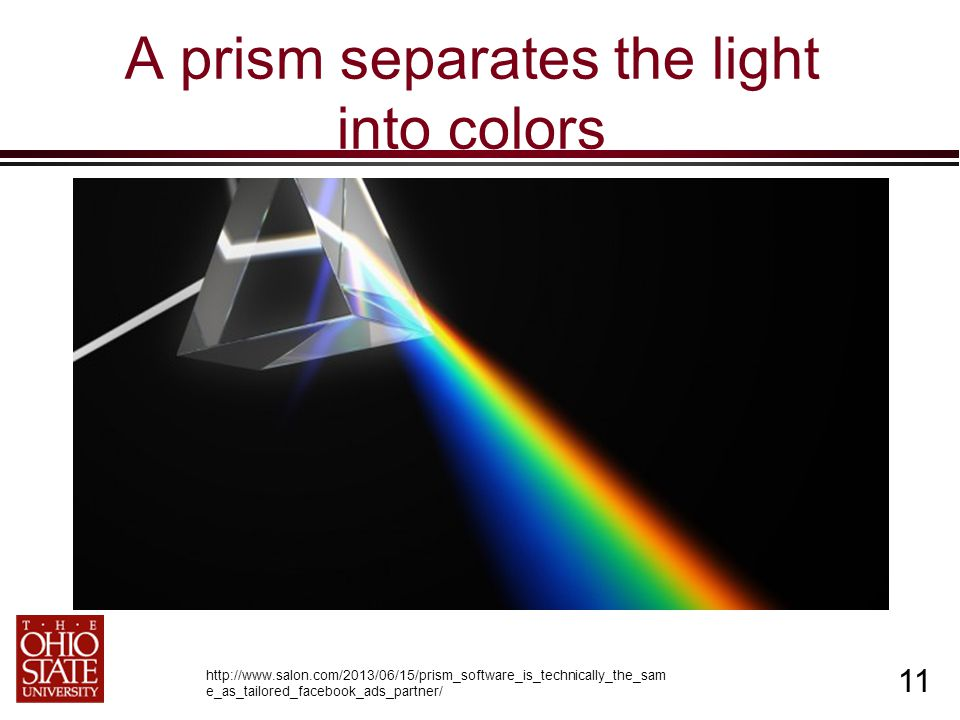 11 A prism separates the light into colors http://www.salon.com/2013/06/15/prism_software_is_technically_the_sam e_as_tailored_facebook_ads_partner/