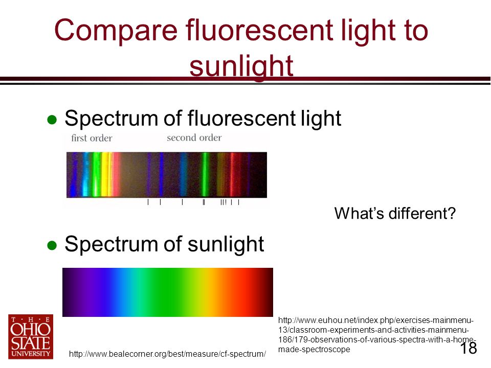 18 Compare fluorescent light to sunlight Spectrum of fluorescent light Spectrum of sunlight http://www.bealecorner.org/best/measure/cf-spectrum/ http://www.euhou.net/index.php/exercises-mainmenu- 13/classroom-experiments-and-activities-mainmenu- 186/179-observations-of-various-spectra-with-a-home- made-spectroscope What's different?