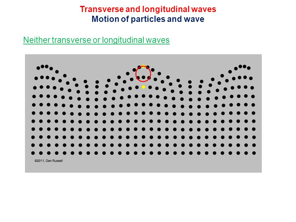 Transverse and longitudinal waves Motion of particles and wave Neither transverse or longitudinal waves