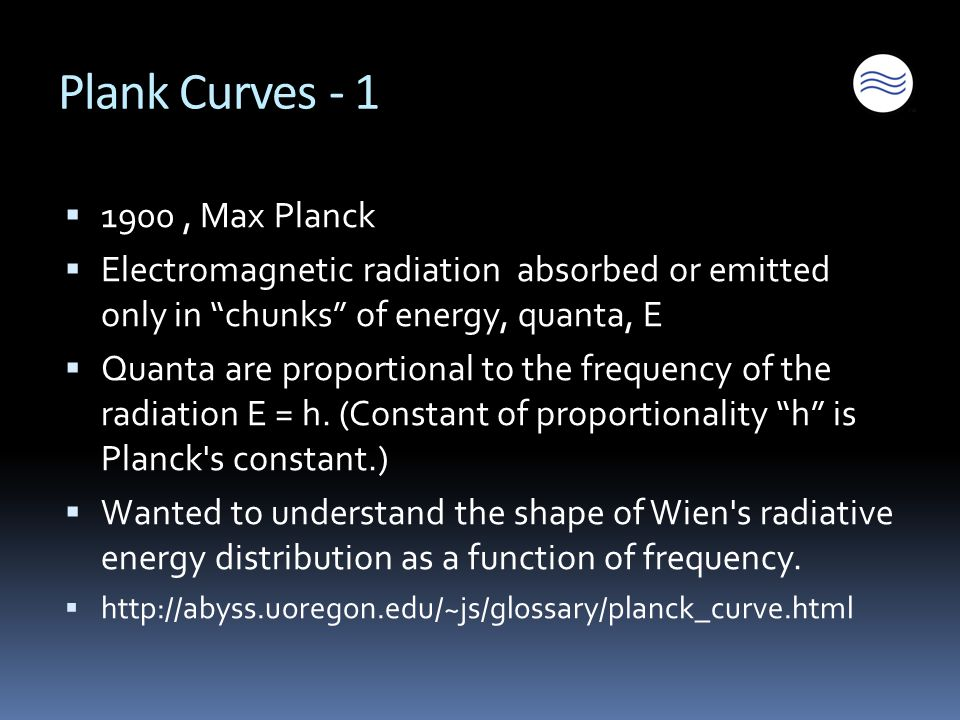 Plank Curves - 1  1900, Max Planck  Electromagnetic radiation absorbed or emitted only in chunks of energy, quanta, E  Quanta are proportional to the frequency of the radiation E = h.