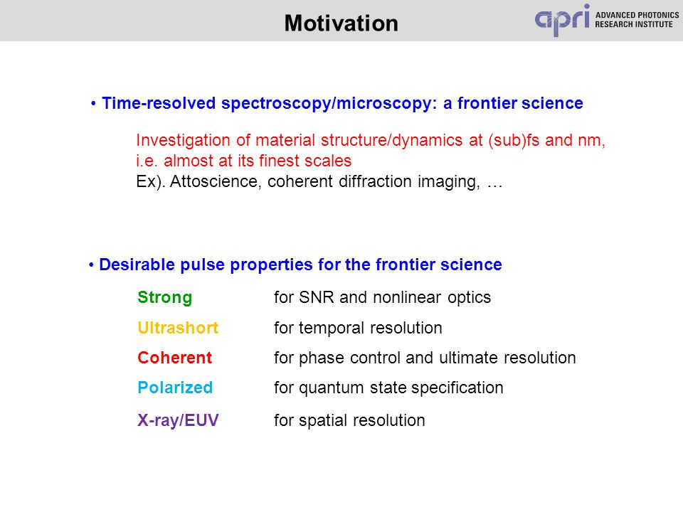 Motivation Desirable pulse properties for the frontier science Strongfor SNR and nonlinear optics Ultrashortfor temporal resolution Coherentfor phase