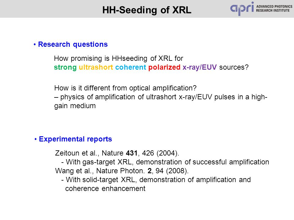 HH-Seeding of XRL Experimental reports Zeitoun et al., Nature 431, 426 (2004). - With gas-target XRL, demonstration of successful amplification Wang e