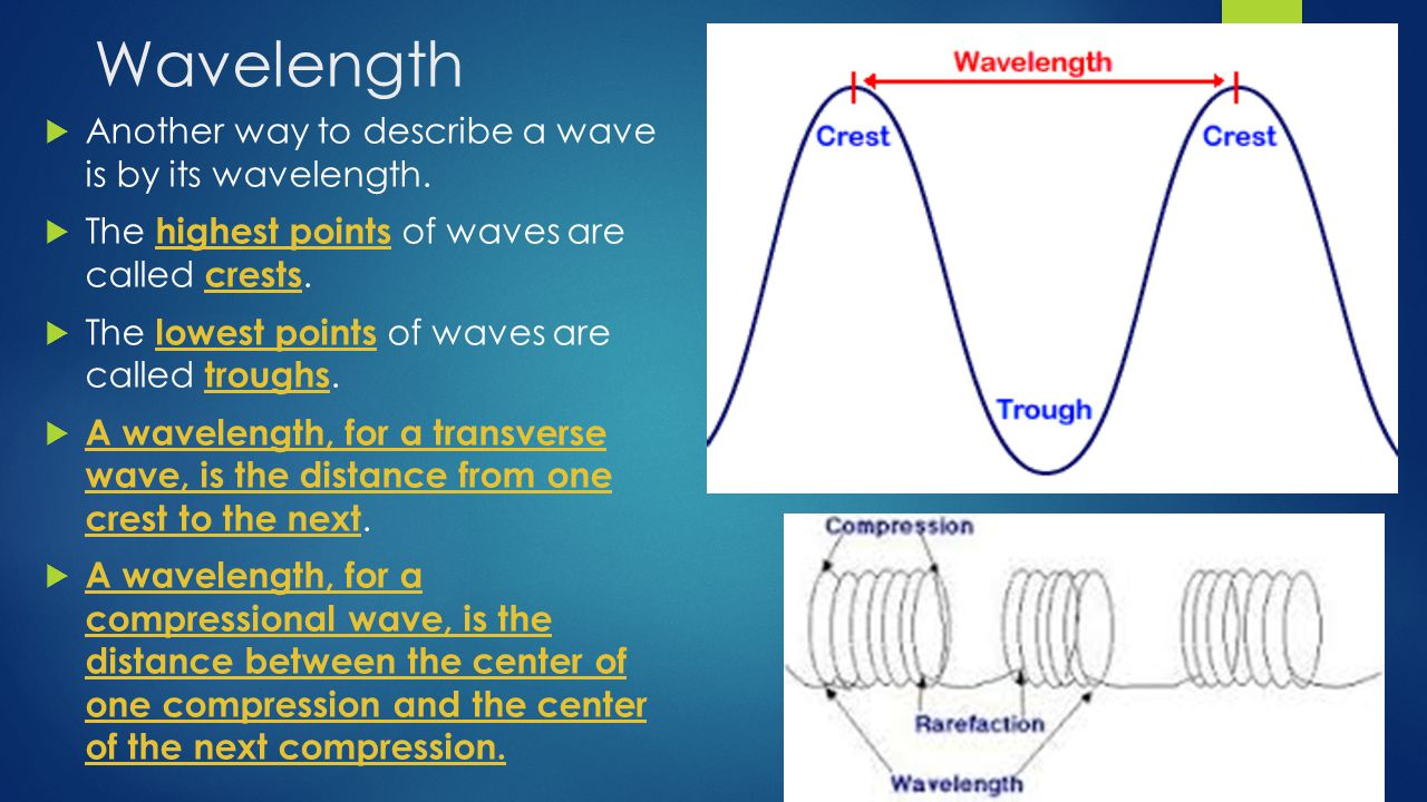 Wavelength  Another way to describe a wave is by its wavelength.