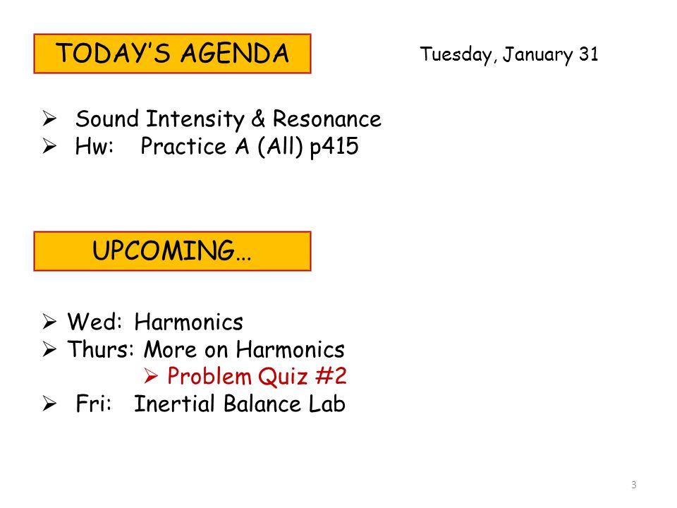 TODAY'S AGENDA  Sound Intensity & Resonance  Hw: Practice A (All) p415 UPCOMING…  Wed:Harmonics  Thurs:More on Harmonics  Problem Quiz #2  Fri:I