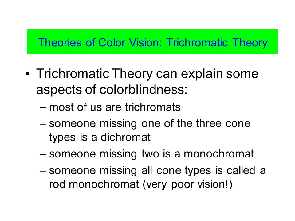 Color Vision Trichromatic Theory can explain some aspects of colorblindness: –most of us are trichromats –someone missing one of the three cone types is a dichromat –someone missing two is a monochromat –someone missing all cone types is called a rod monochromat (very poor vision!) Theories of Color Vision: Trichromatic Theory