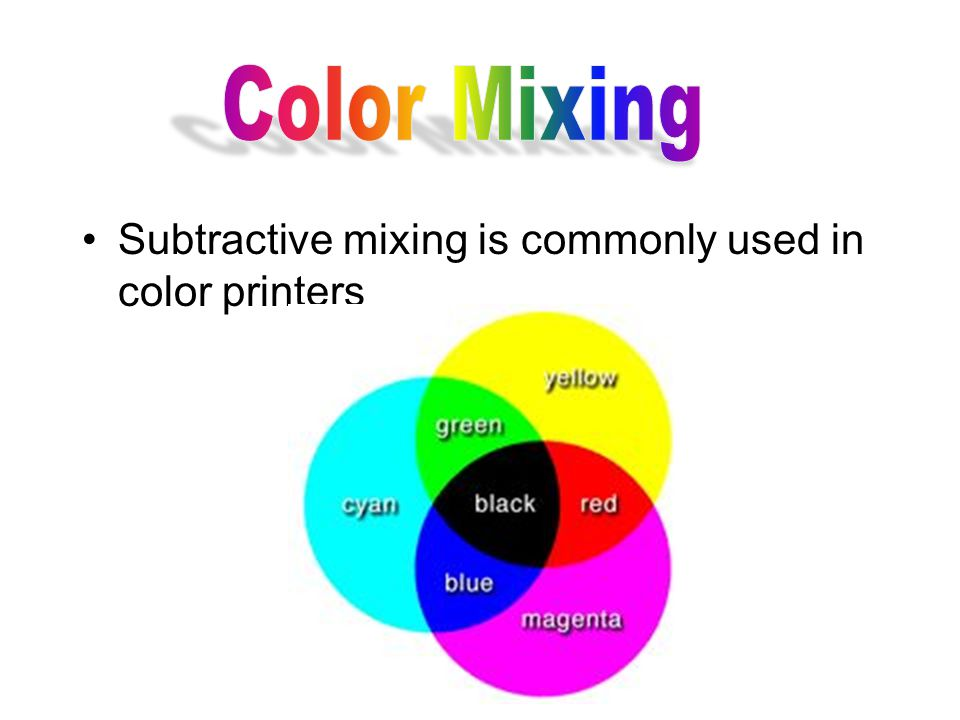 Subtractive mixing is commonly used in color printers
