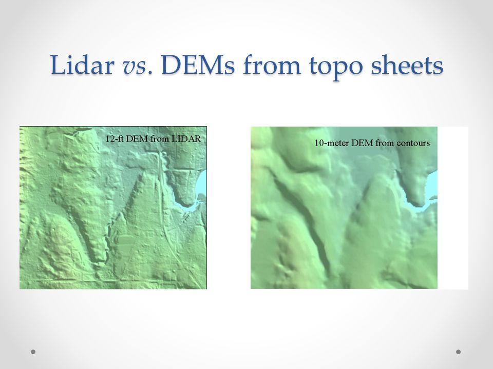 Lidar vs. DEMs from topo sheets