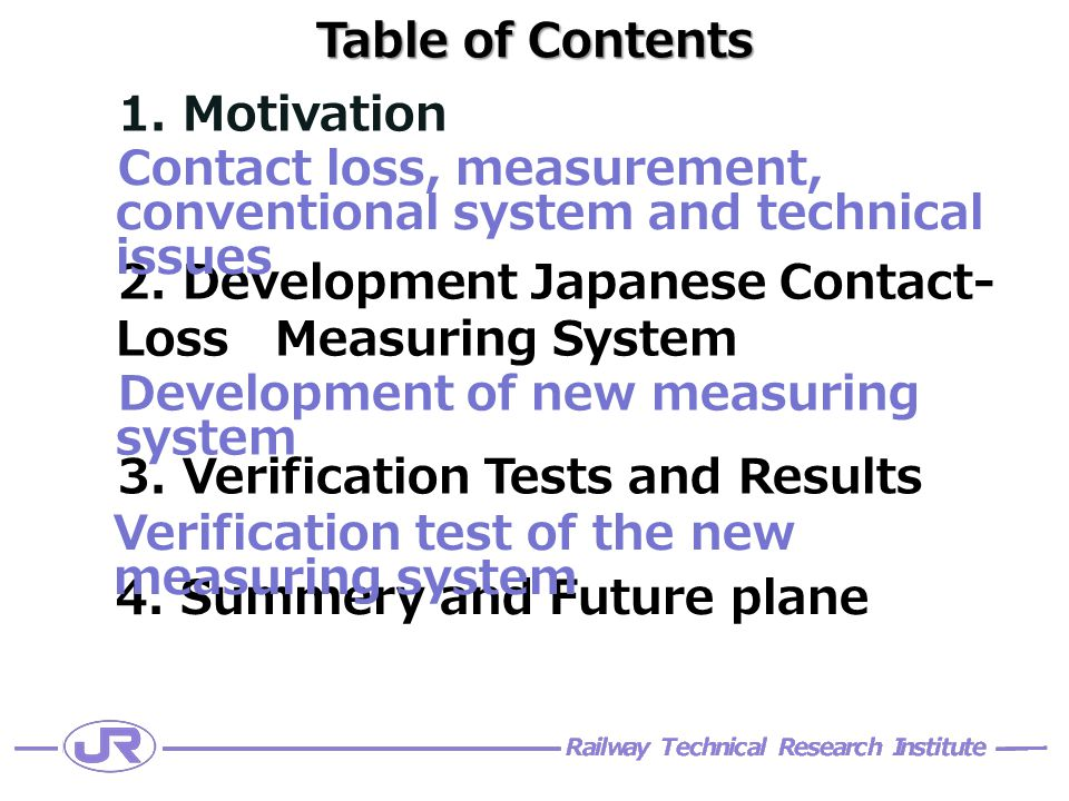 Table of Contents 1. Motivation 2. Development Japanese Contact- Loss Measuring System 3.