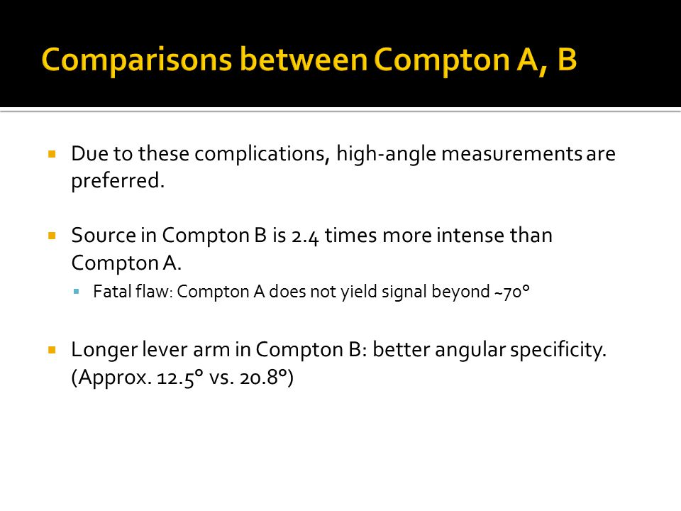  Due to these complications, high-angle measurements are preferred.  Source in Compton B is 2.4 times more intense than Compton A.  Fatal flaw: Com