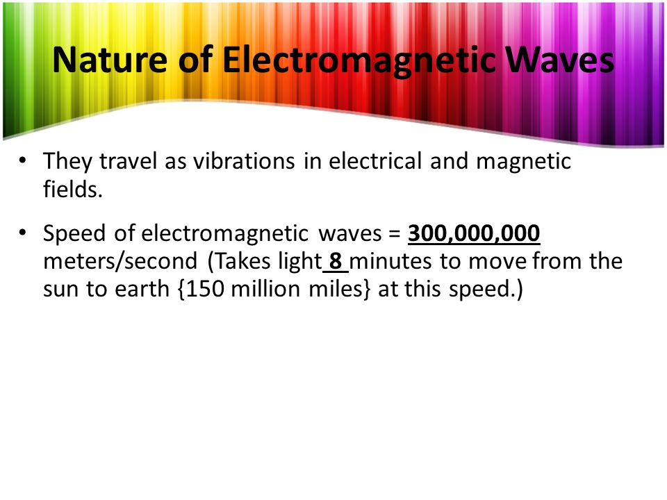 Nature of Electromagnetic Waves They travel as vibrations in electrical and magnetic fields.