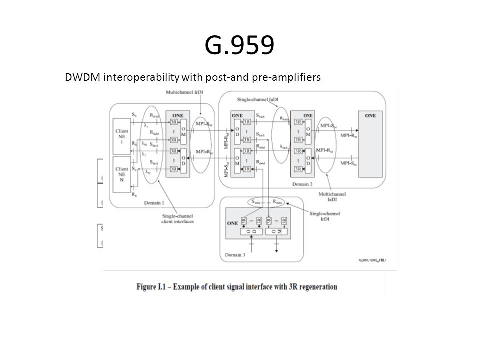 G.959 DWDM interoperability with post-and pre-amplifiers