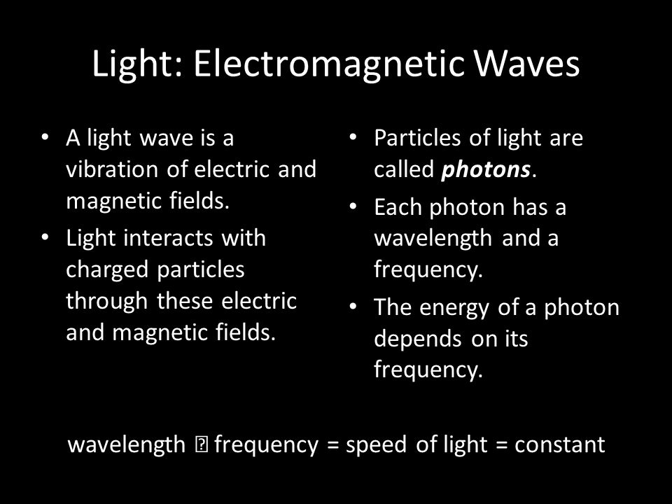 Light: Electromagnetic Waves A light wave is a vibration of electric and magnetic fields.