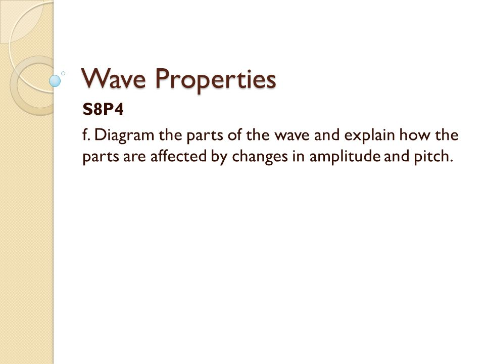 Wave Properties S8P4 f. Diagram the parts of the wave and explain how the parts are affected by changes in amplitude and pitch.