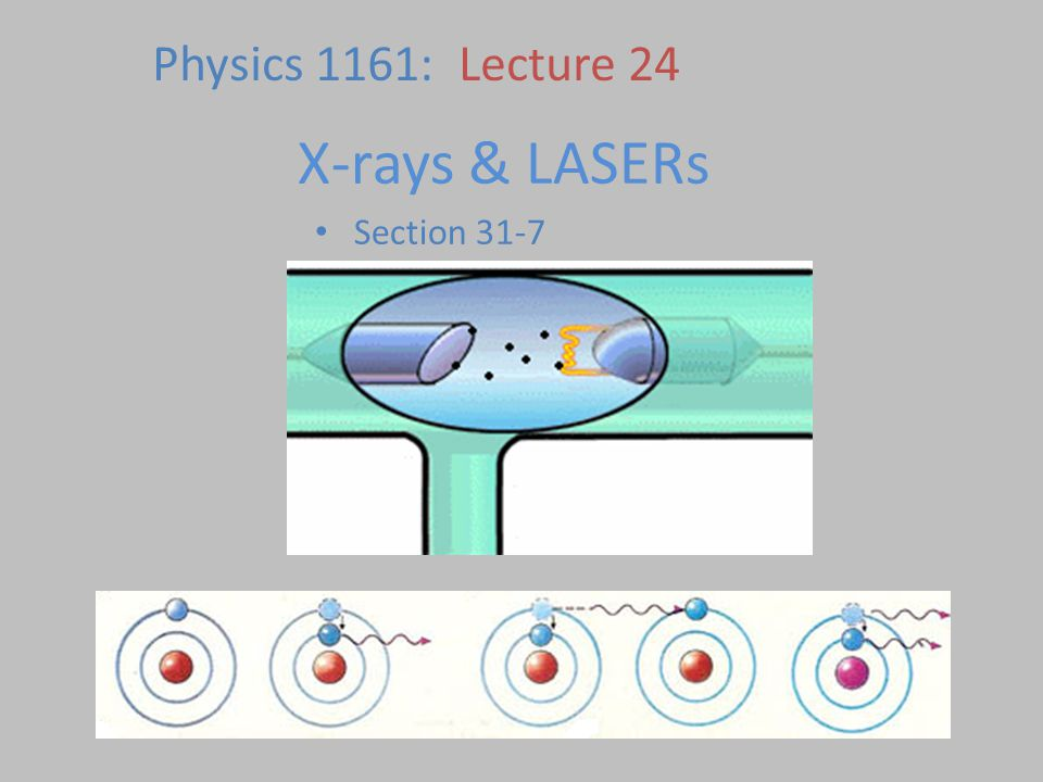 X-rays & LASERs Section 31-7 Physics 1161: Lecture 24
