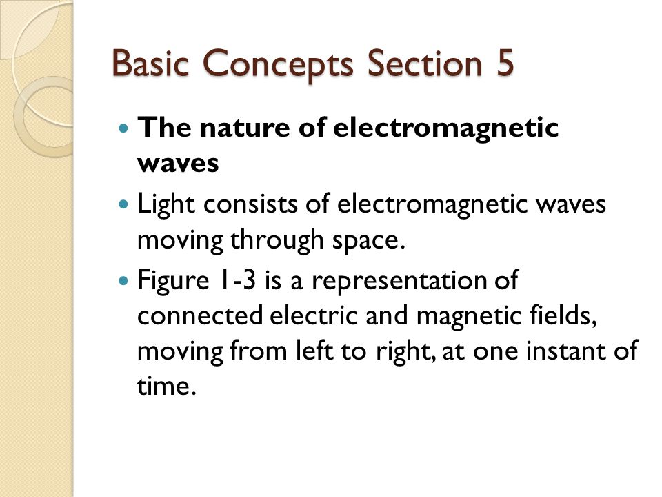 Basic Concepts Section 5 The nature of electromagnetic waves Light consists of electromagnetic waves moving through space.