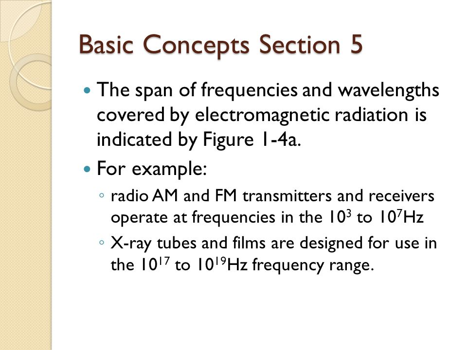 Basic Concepts Section 5 Lasers generally produce laser light in the frequency and wavelength range indicated by Figure 1-4b.
