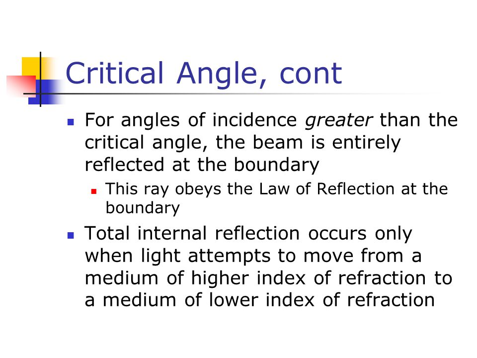 Critical Angle, cont For angles of incidence greater than the critical angle, the beam is entirely reflected at the boundary This ray obeys the Law of Reflection at the boundary Total internal reflection occurs only when light attempts to move from a medium of higher index of refraction to a medium of lower index of refraction
