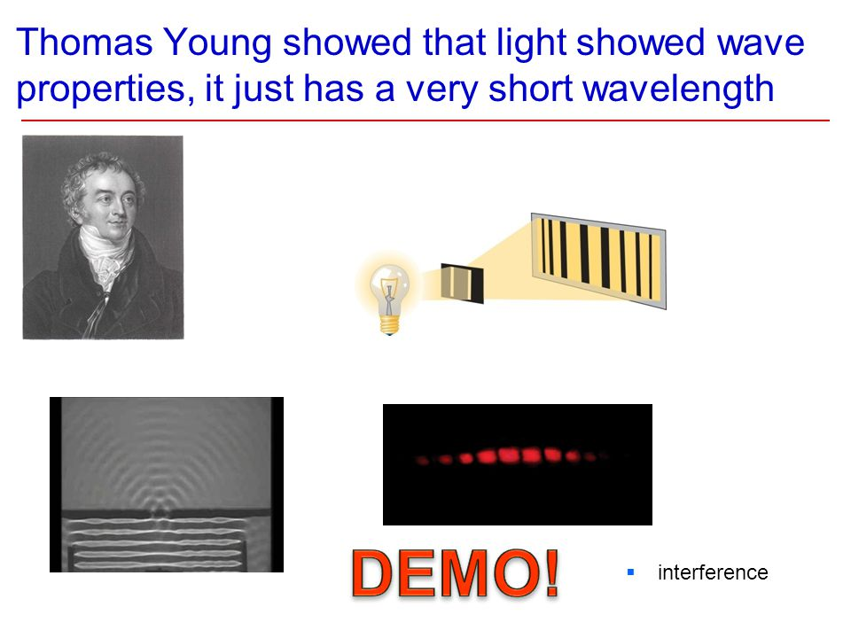 Thomas Young showed that light showed wave properties, it just has a very short wavelength Thomas Young Light exhibits diffraction