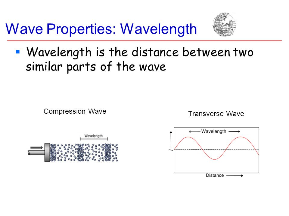Wave Properties: Wavelength Transverse Wave Compression Wave  Wavelength is the distance between two similar parts of the wave