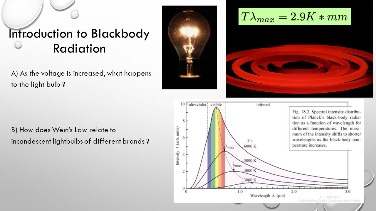 Introduction to Blackbody Radiation A) As the voltage is increased, what happens to the light bulb ? B) How does Wein's Law relate to incandescent lig