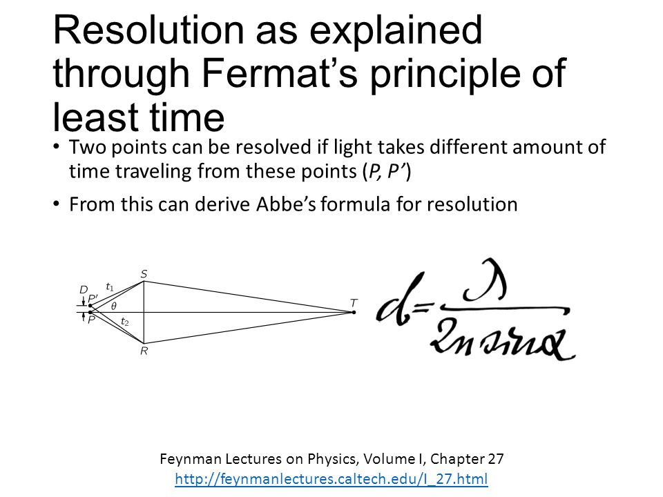 Feynman Lectures on Physics, Volume I, Chapter 27 http://feynmanlectures.caltech.edu/I_27.html Resolution as explained through Fermat's principle of l