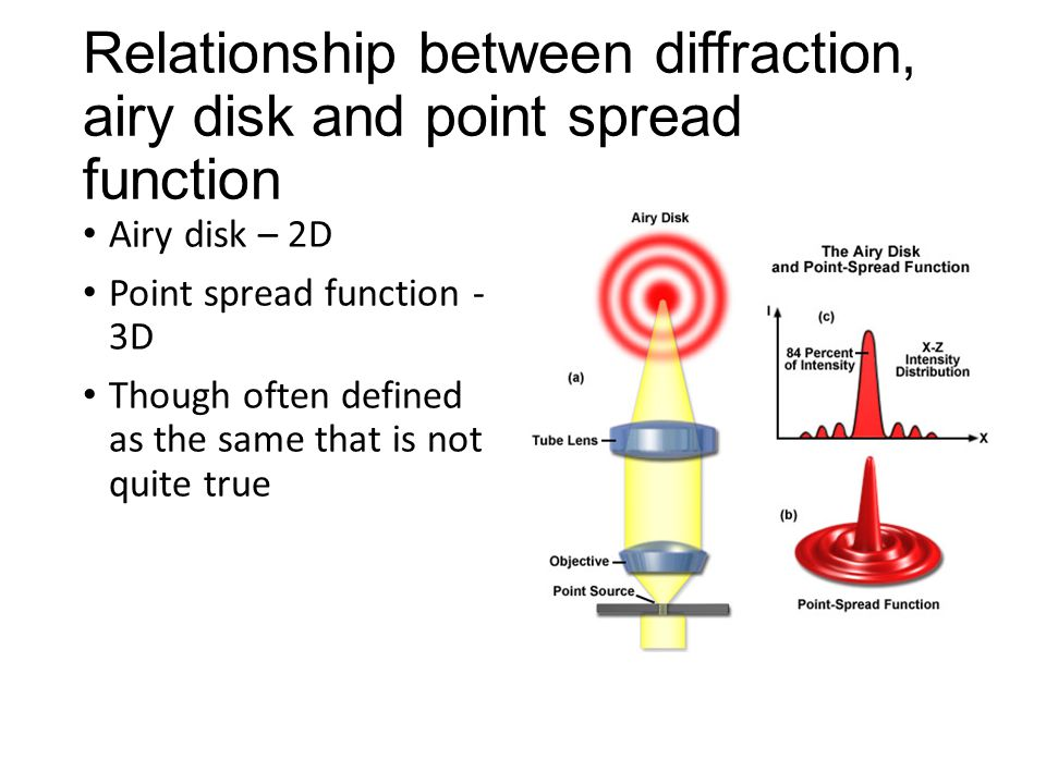 Relationship between diffraction, airy disk and point spread function Airy disk – 2D Point spread function - 3D Though often defined as the same that is not quite true