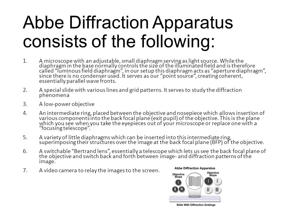 Abbe Diffraction Apparatus consists of the following: 1.A microscope with an adjustable, small diaphragm serving as light source.