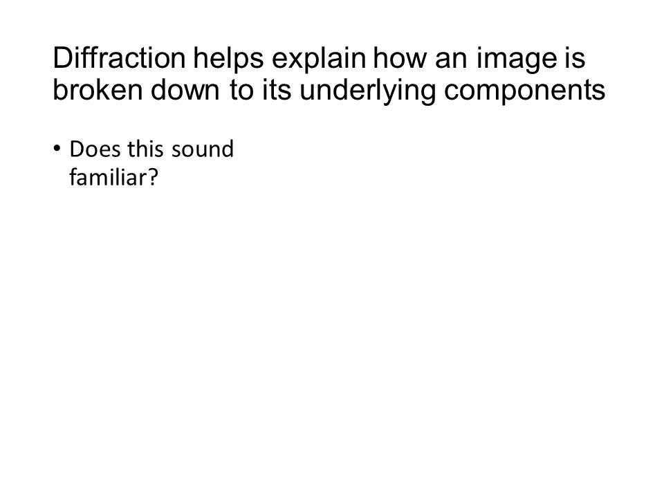 Diffraction helps explain how an image is broken down to its underlying components Does this sound familiar?