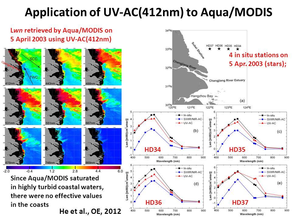Application of UV-AC(412nm) to Aqua/MODIS Lwn retrieved by Aqua/MODIS on 5 April 2003 using UV-AC(412nm) 4 in situ stations on 5 Apr.