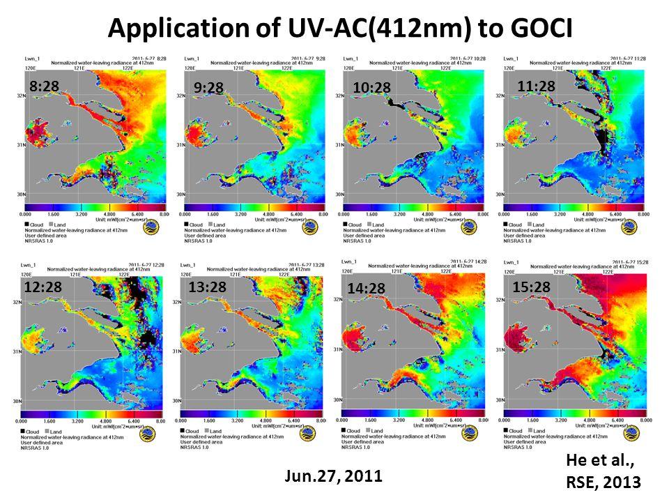 Jun.27, 2011 8:28 9:2810:28 11:28 12:2813:28 14:28 15:28 Application of UV-AC(412nm) to GOCI He et al., RSE, 2013