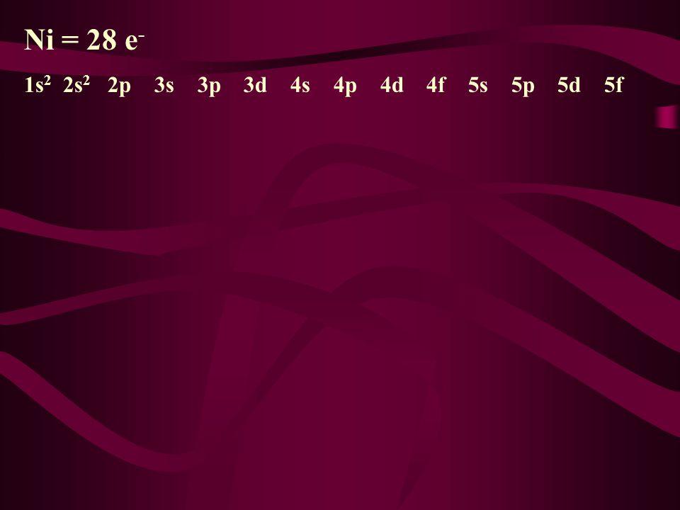 Ni = 28 e - 1s 2 2s 2p 3s 3p 3d 4s 4p 4d 4f 5s 5p 5d 5f