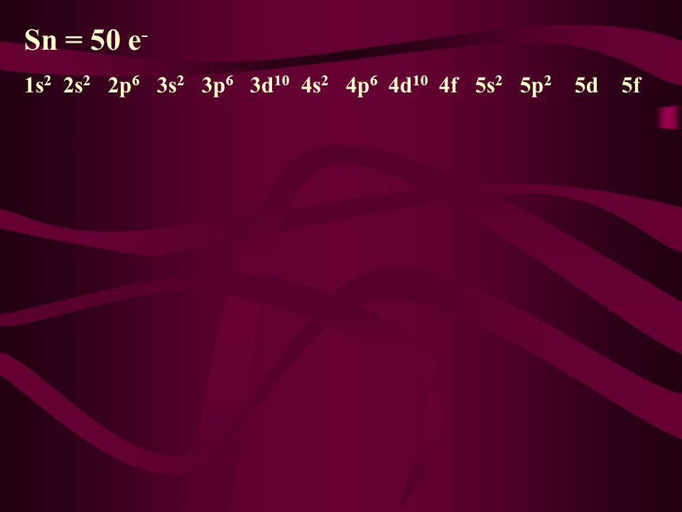Sn = 50 e - Your Turn to Try 1s 2s 2p 3s 3p 3d 4s 4p 4d 4f 5s 5p 5d 5f