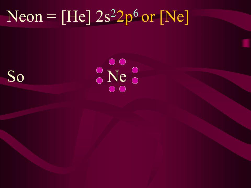 Fluorine = [He] 2s 2 2p 5 So F