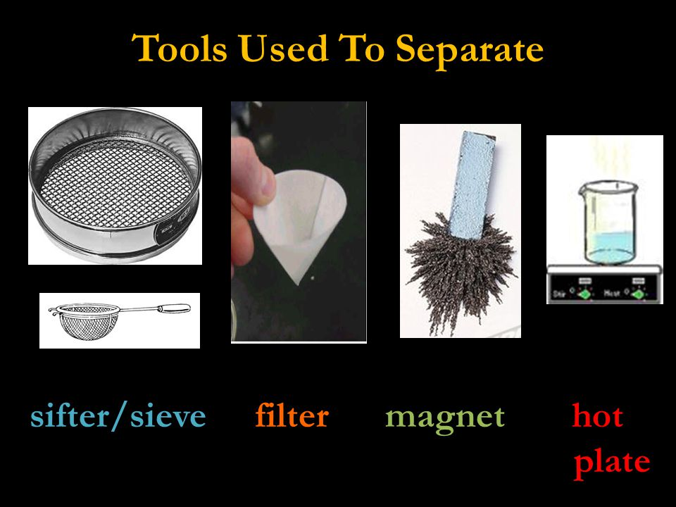 What Tool Should We Use.1. Gravel (tiny rocks) + sand: Sifter/sieve 2.