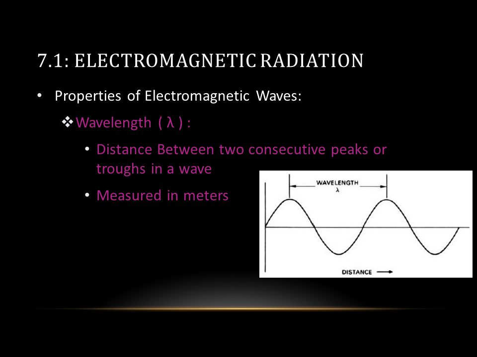 7.1: ELECTROMAGNETIC RADIATION Properties of Electromagnetic Waves:  Wavelength ( λ ) : Distance Between two consecutive peaks or troughs in a wave Measured in meters