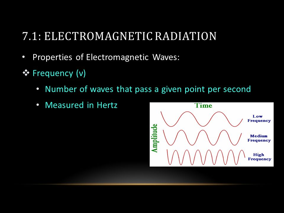 7.1: ELECTROMAGNETIC RADIATION Properties of Electromagnetic Waves:  Frequency (ν) Number of waves that pass a given point per second Measured in Hertz