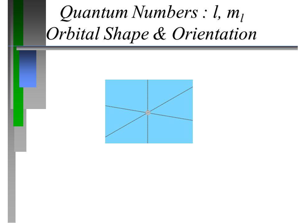 Quantum Numbers : l, m l Orbital Shape & Orientation